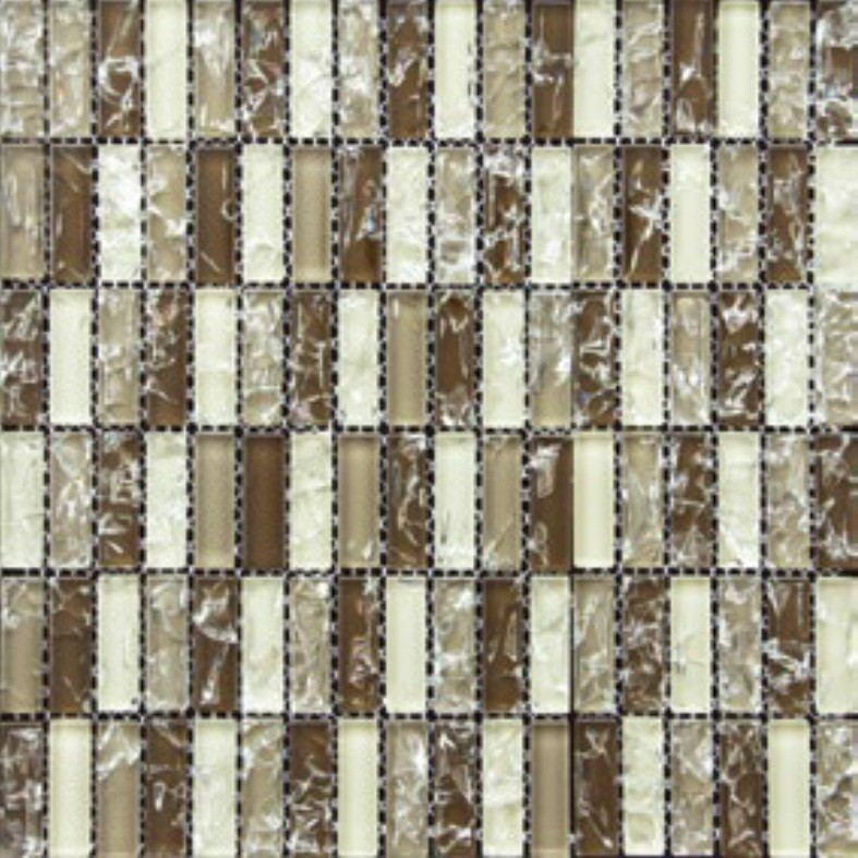 Pastilha de Vidro Craquelada 15x48cm Marrom Escuro - MC002E - Jolie
