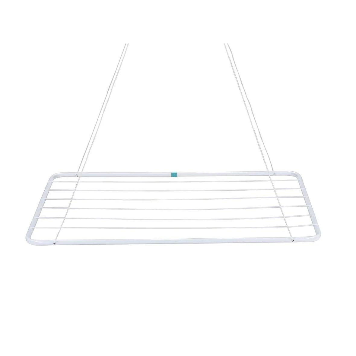 Varal de Teto de Aco 8 Hastes 90x56cm Branco - Mor