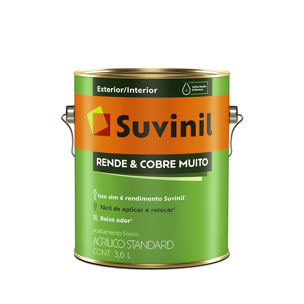 Tinta Acrilica Fosco Standard 36L - Amarelo Canario - Rende e Cobre Muito Suvinil