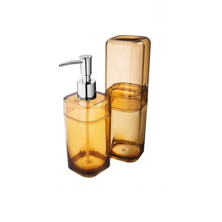 Jogo para Banheiro de Plastico 2 Pecas Amarelo - Splash Coza - 991827456
