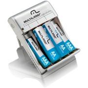 Carregador para Pilhas AA/AAA com 2 Pilhas AA e 2 Pilhas AAA Multilaser Branco - CB045