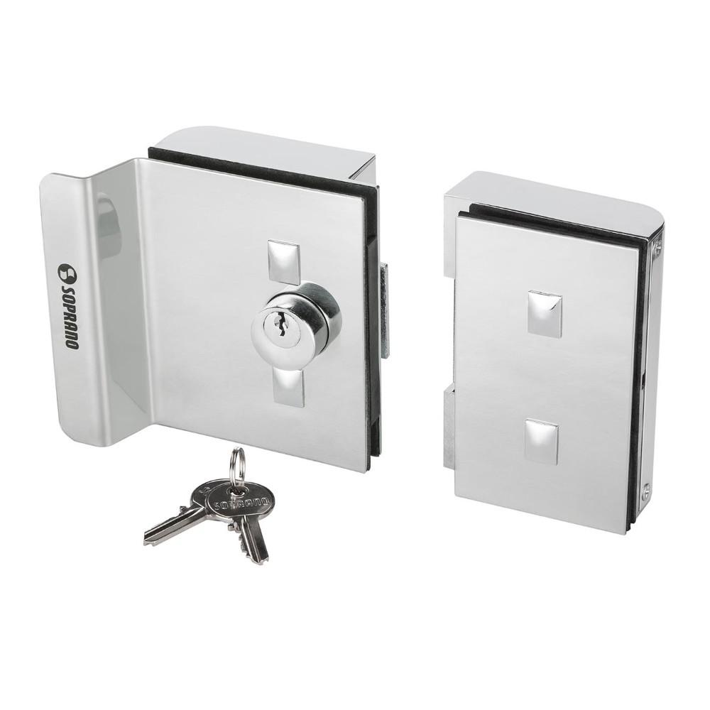 Fechadura Eletrica 12V Inox para Porta de Vidro Interna - 0903 - Soprano