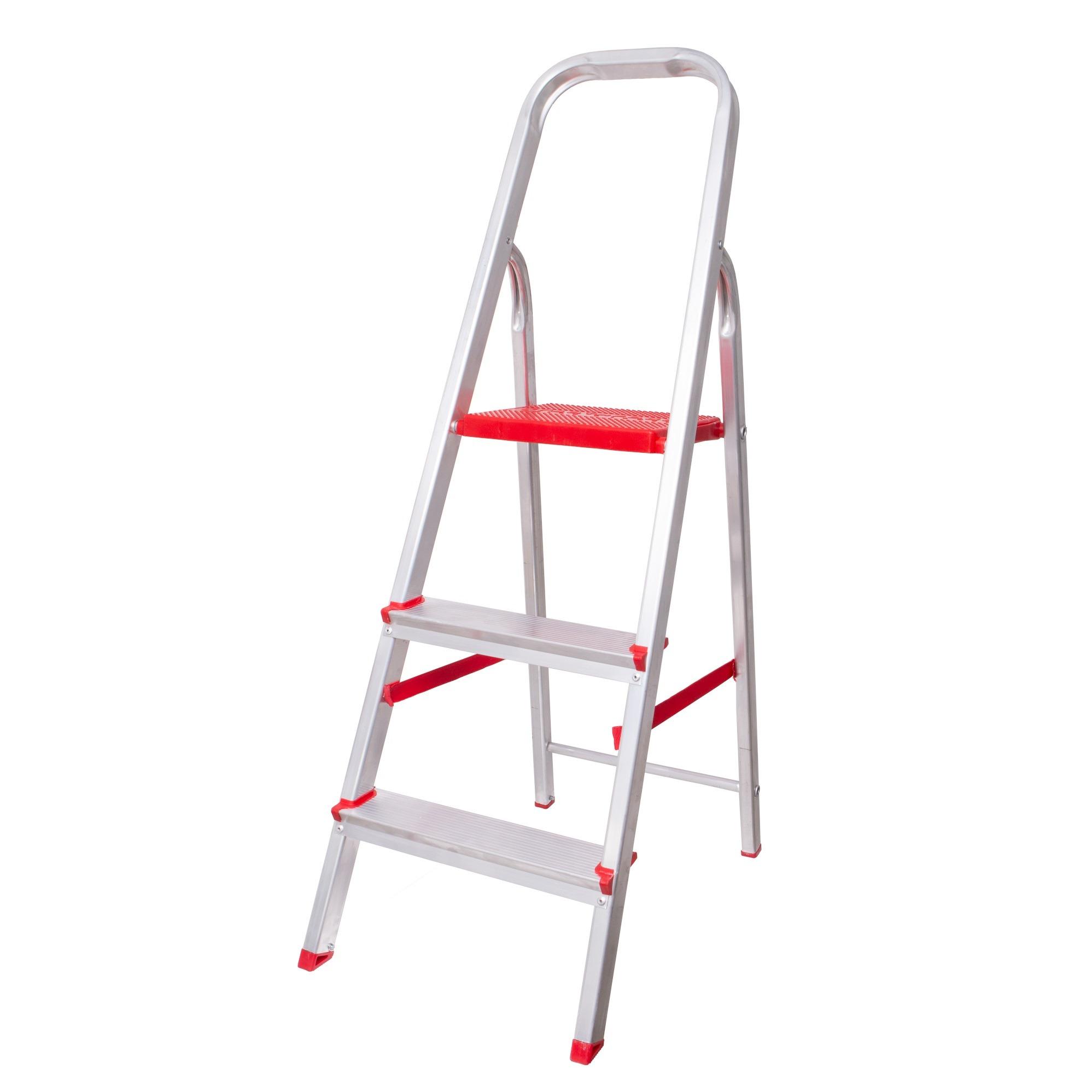 Escada de Aluminio 3 Degraus Dobravel Prata 120kg - Botafogo