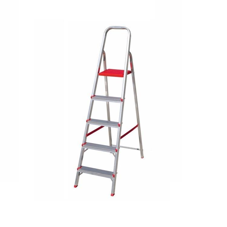 Escada Tesoura em Aluminio 5 Degraus Prata - Botafogo