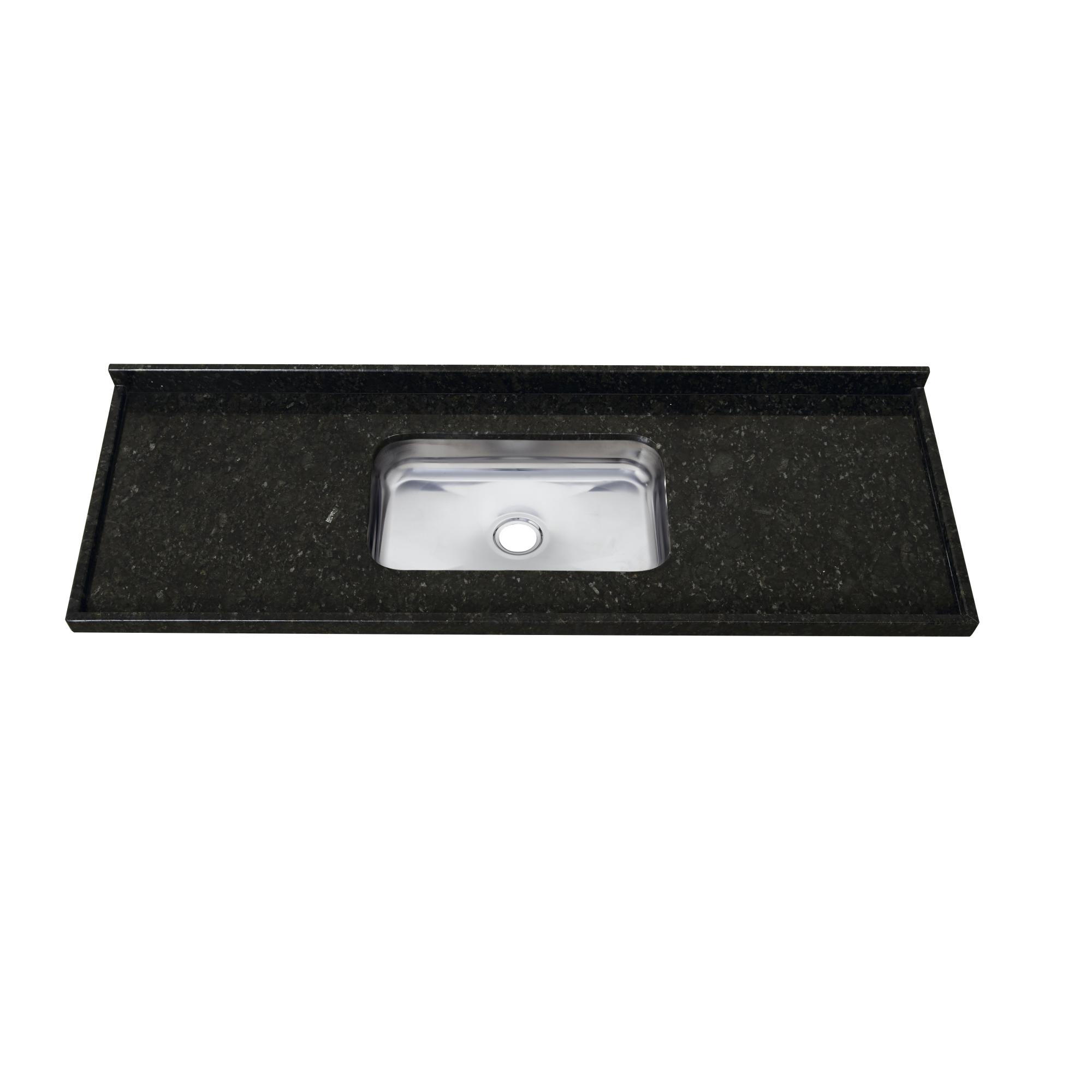 Pia Simples para Cozinha de Granito Brilho 150cm x 55cm Verde Escuro - 50111226 - Pop Venturini