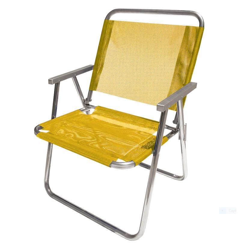 Cadeira de Praia Aluminio Extra Larga Amarela - Botafogo
