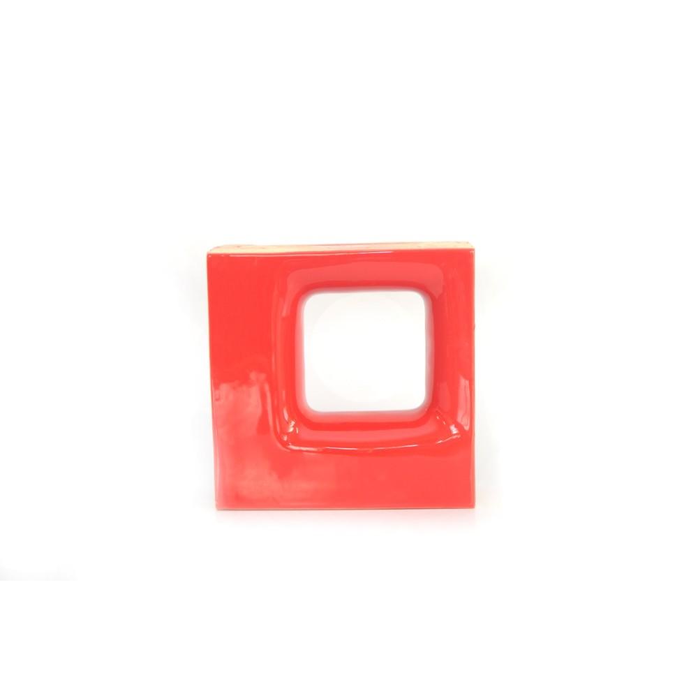 Cobogo Ceramica Esmaltado Vazado 20x20 cm Quadratto Vermelho - Elemento V