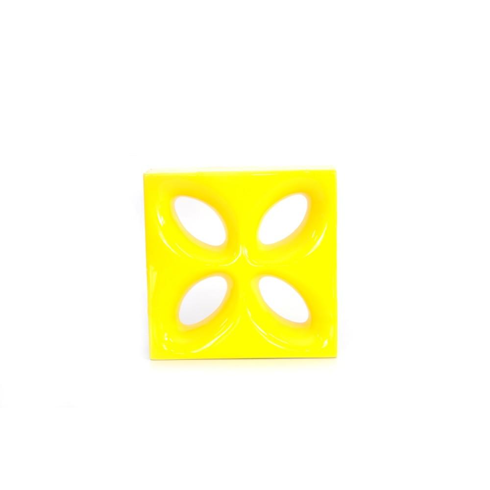 Cobogo Ceramica Esmaltado Vazado 20x20 cm Foglio Amarelo - Elemento V