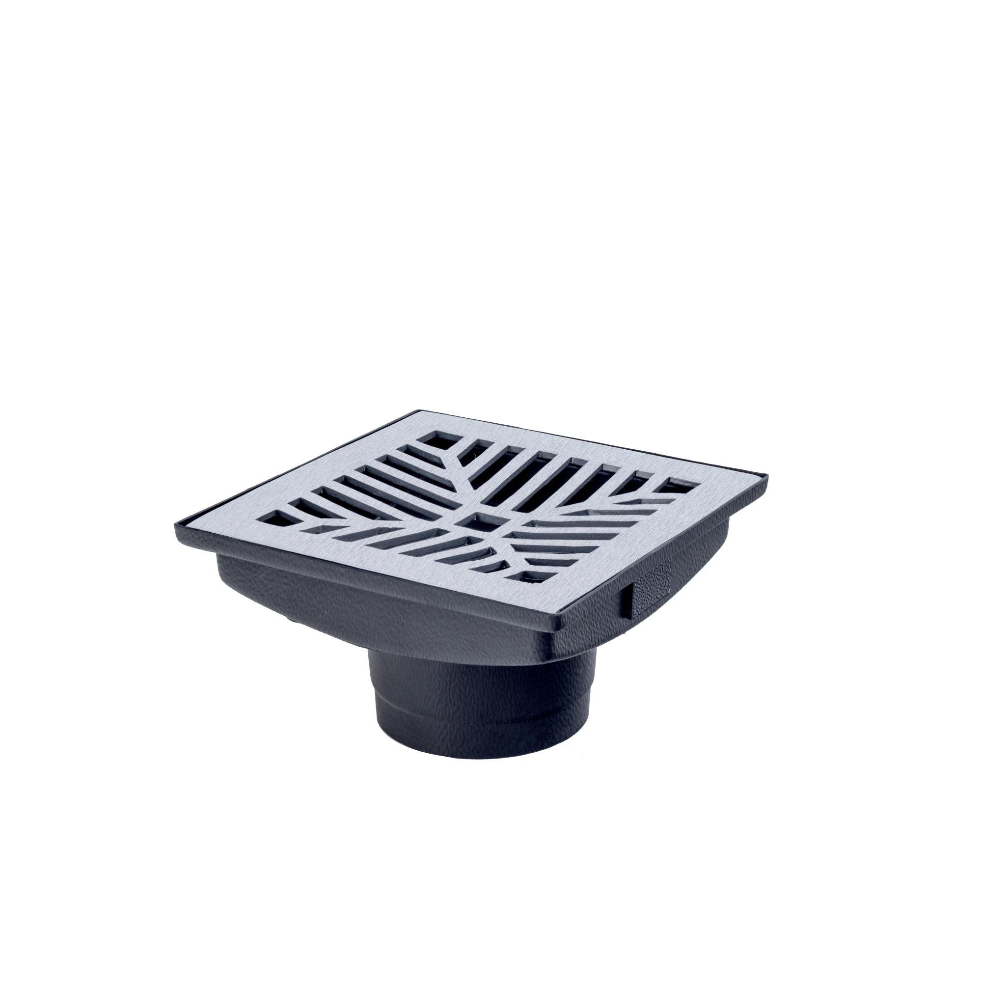 Grelha de Aluminio para Piso Polida Quadrada com Caixa 18x18cm - LGMais