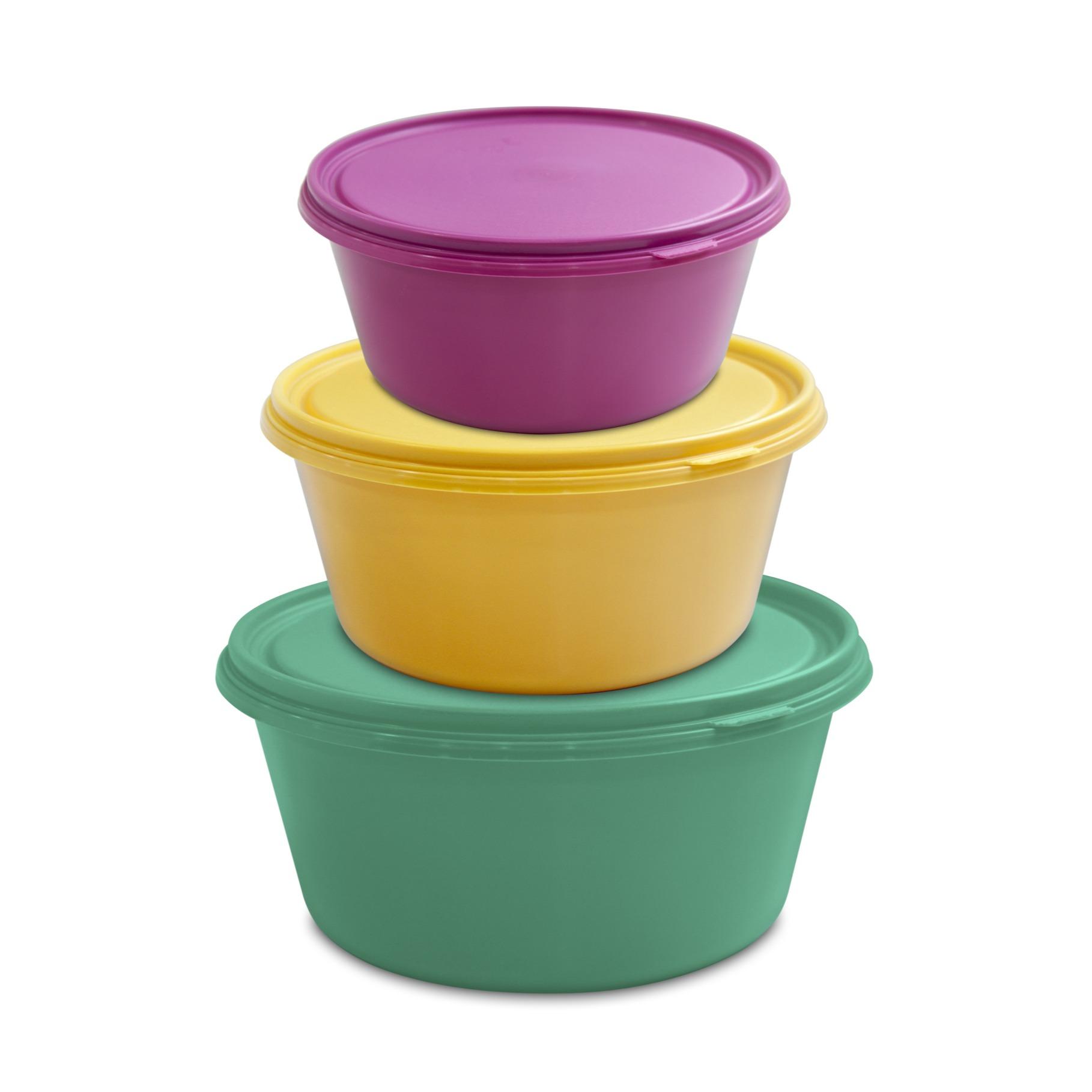Jogo de Potes Plasticos Redondo 3 Pecas 1411 - Plasvale