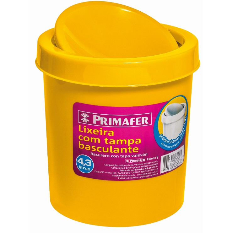Lixeira para Pia Plastico 43L Amarela PR1017 - Primafer