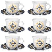 Conjunto de Xícaras Café Cerâmica 65ml com Pires 6 Peças 6779 - Oxford