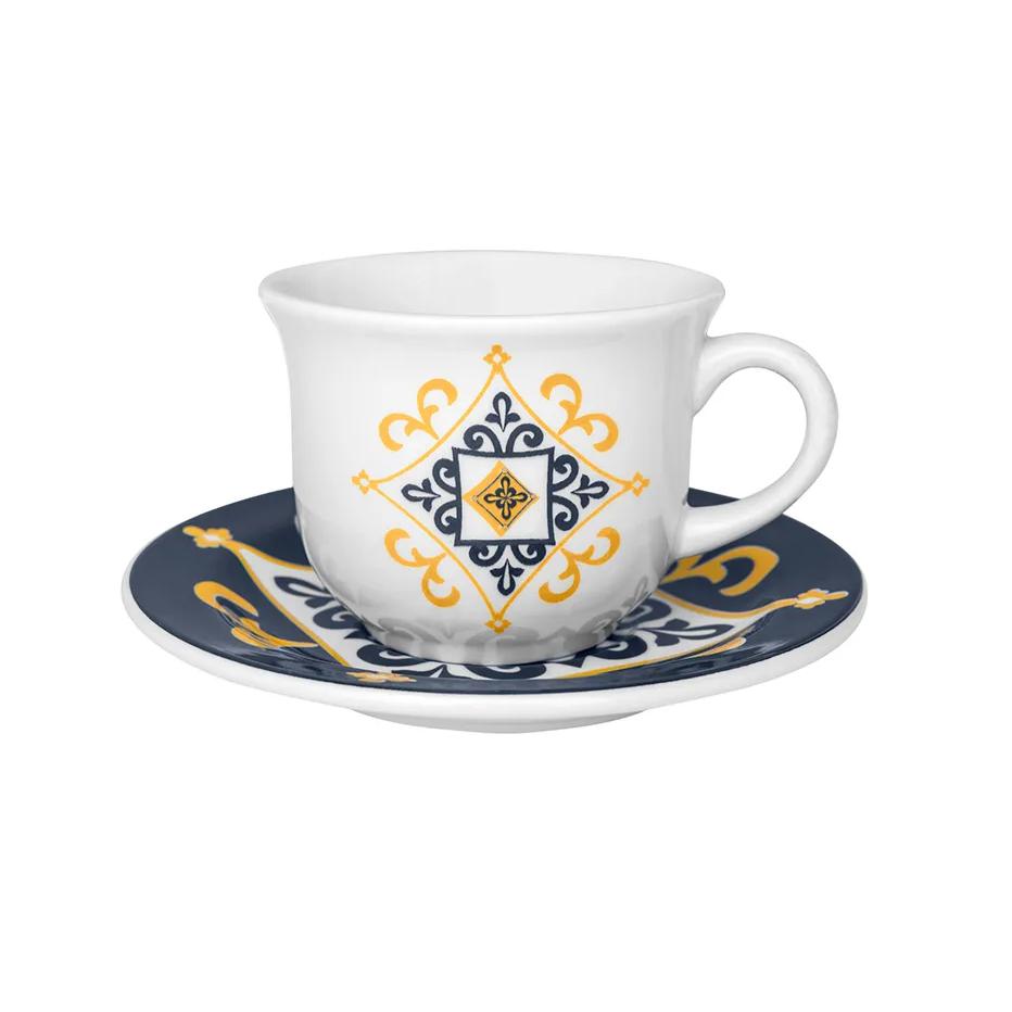 Conjunto de Xicaras Cafe Ceramica 65ml com Pires 6 Pecas 6779 - Oxford