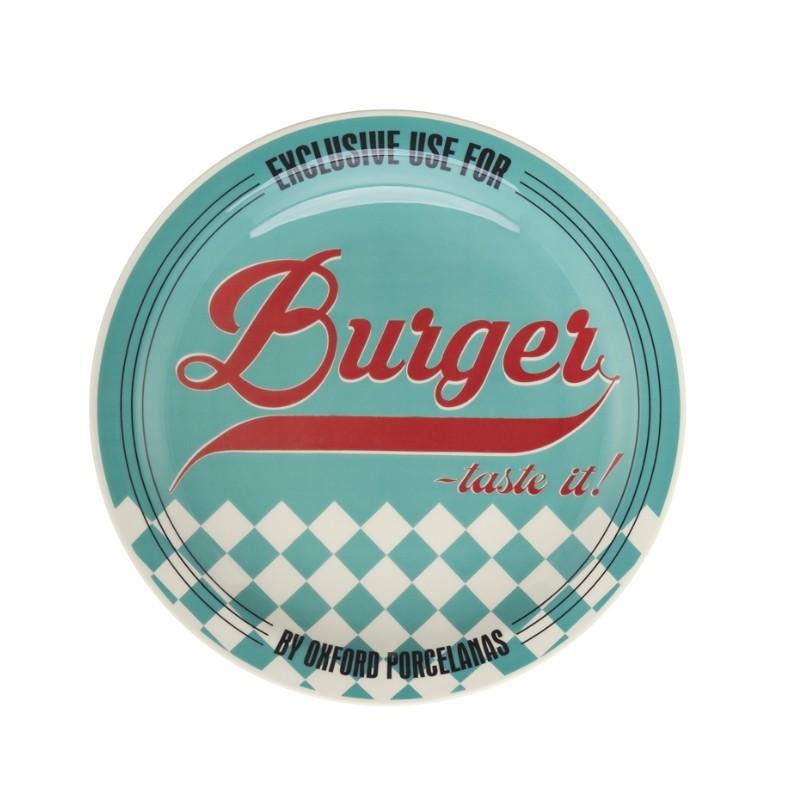 Prato Raso Redondo em Ceramica Burger Azul 26cm - Oxford