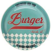 Prato Raso Redondo em Cerâmica Burger Azul 26cm - Oxford