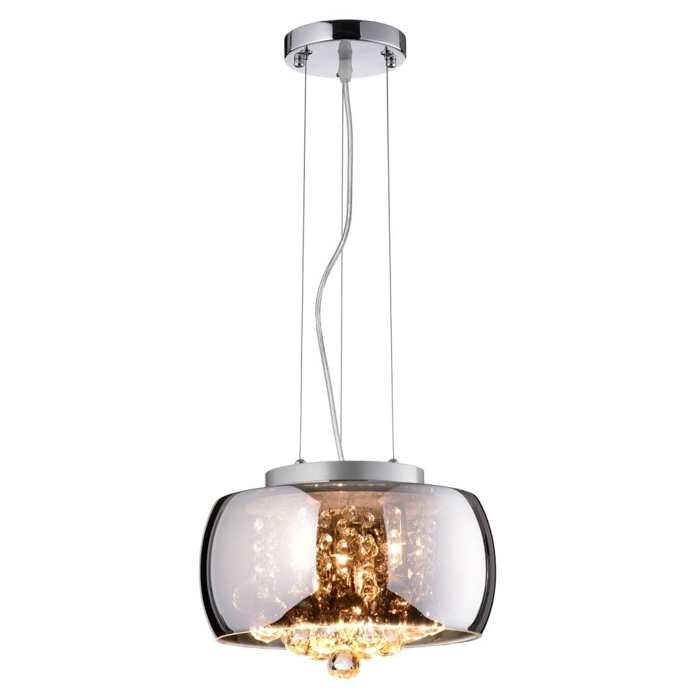 Lustre Vidro e Cristal Cromado 28 cm PD005 - Bella Iluminacao