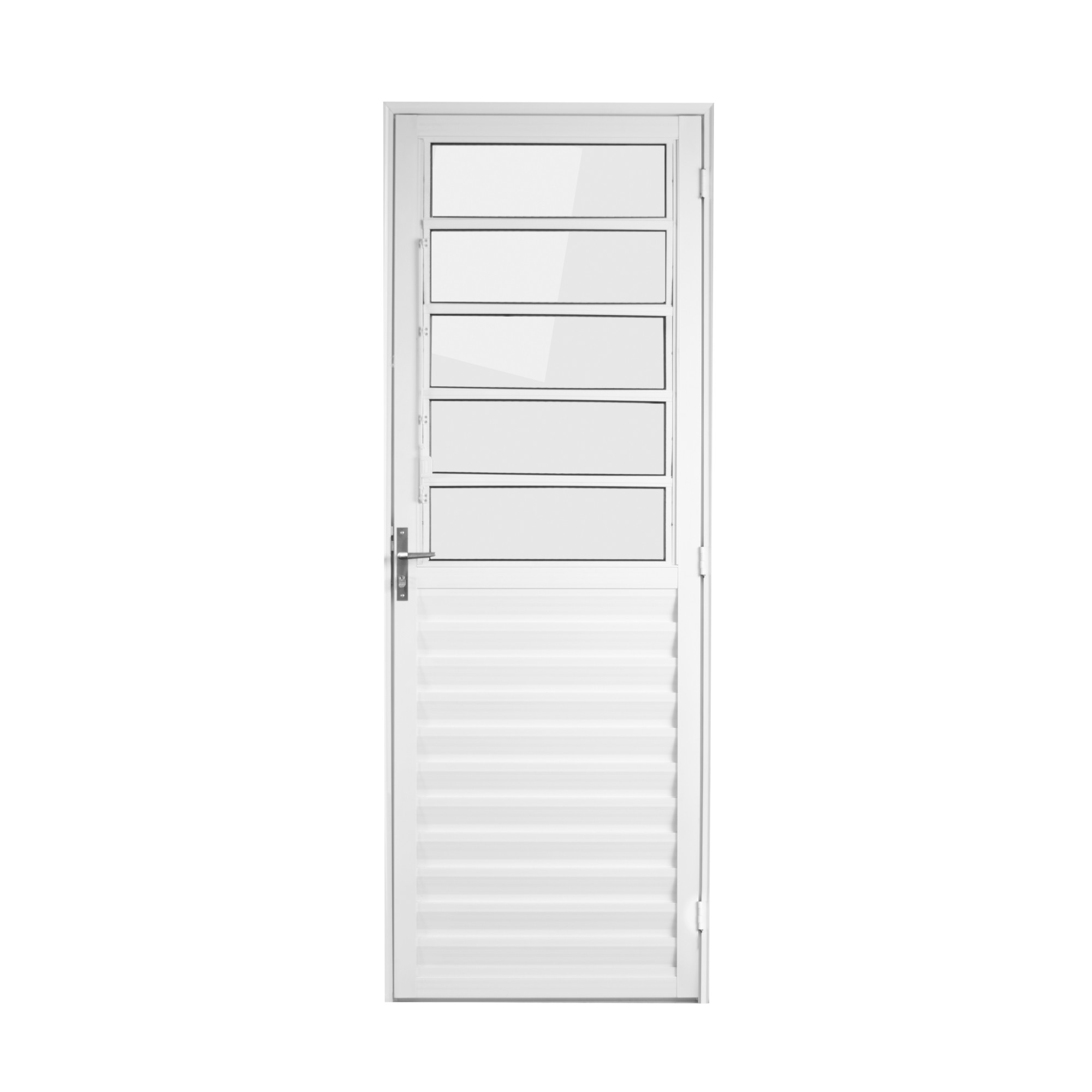 Porta de Aluminio Basculante Branca 210x80 cm Lado Esquerdo Vidro Liso - Aluvid