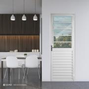 Porta de Alumínio Basculante Branca 210x80 cm Lado Esquerdo Vidro Liso - Aluvid