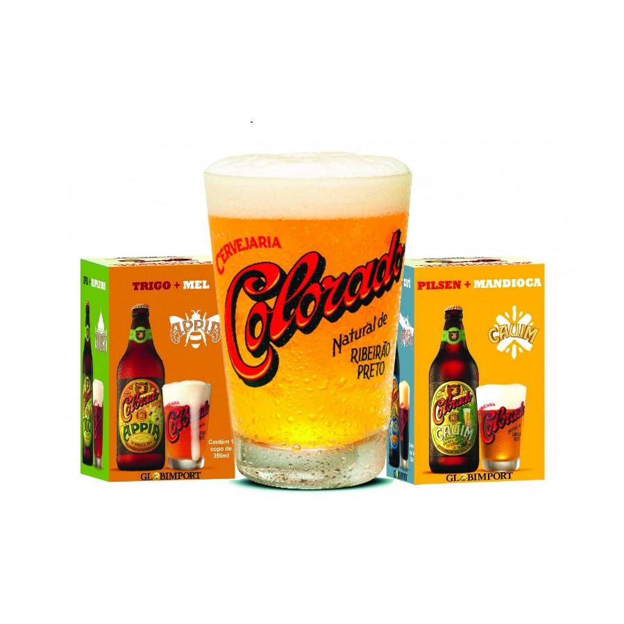 Copo de Cerveja de Vidro 350ml Transparente Colorado - Globimport
