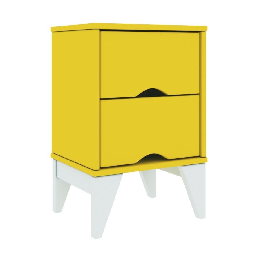 Mesa de Cabeceira 2 Gavetas 36x55cm Twister Amarelo e Branco - Tcil