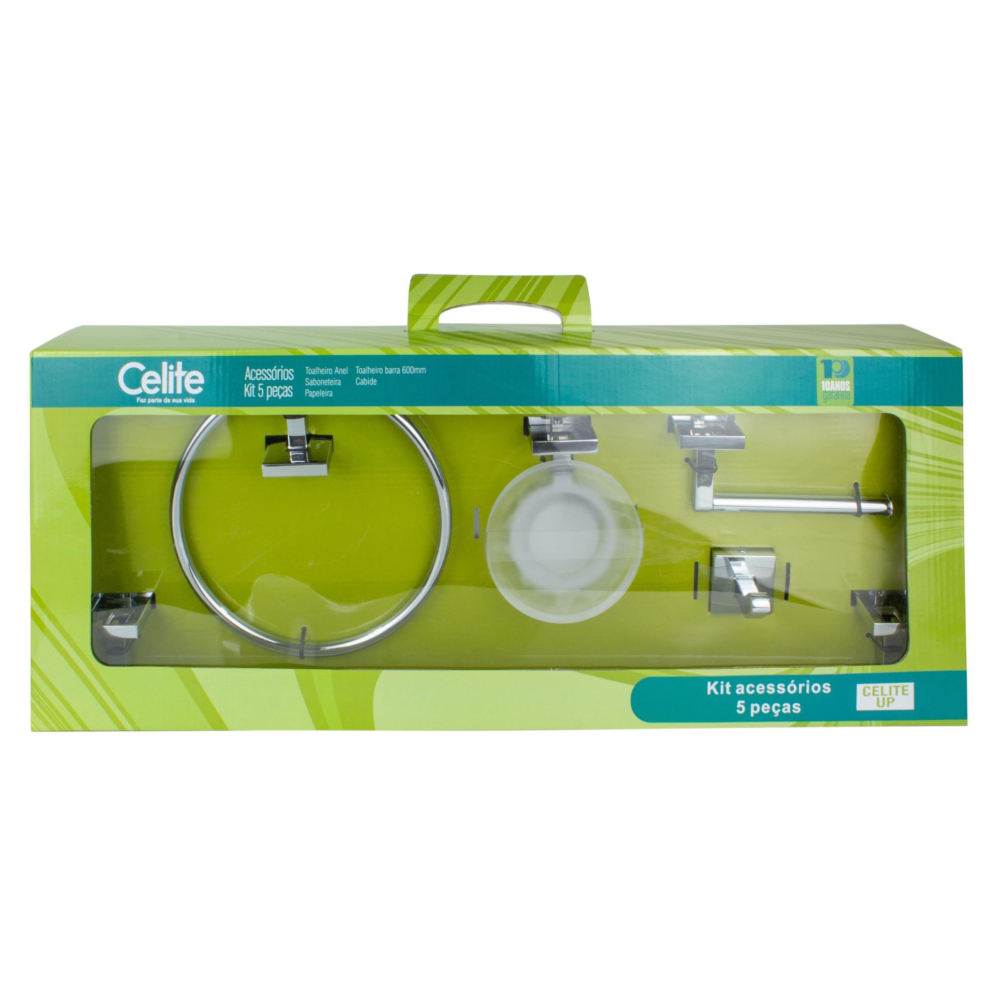 Kit De Acessorios para Banheiro de Parede Metal 5 Pecas Prata - Up Celite