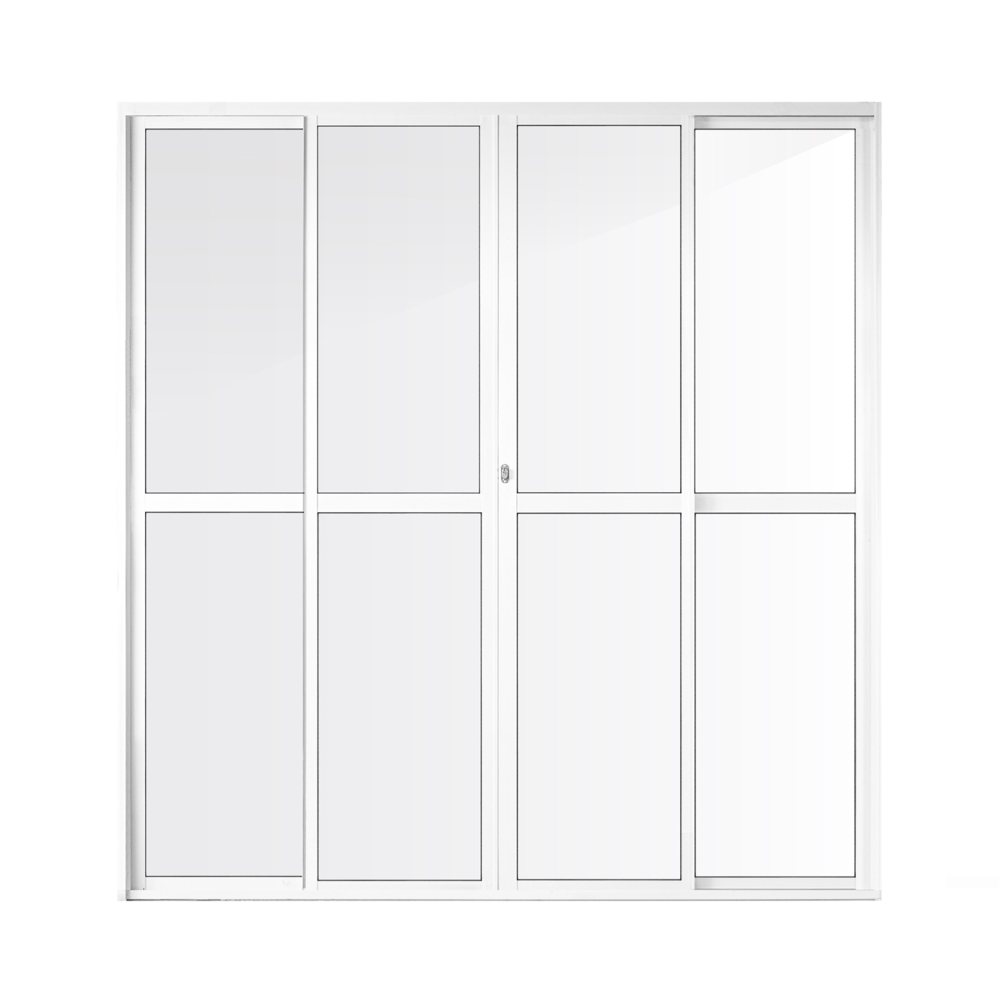 Porta Balcao de Aluminio 4 Folhas 210 x 200 cm Branca Metalflex - Aluvid