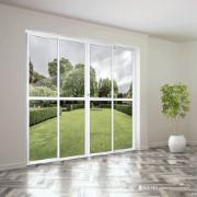 Porta Balcão de Alumínio 4 Folhas 210 x 200 cm Branca Metalflex - Aluvid