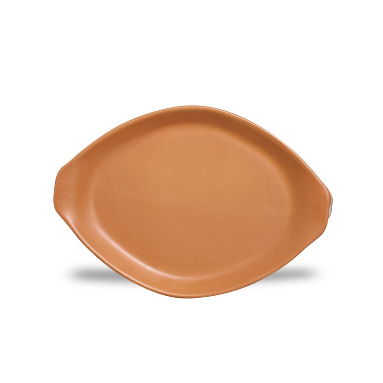 Travessa de Ceramica Oval Rasa 26 cm Tijolo - Nova Imagem
