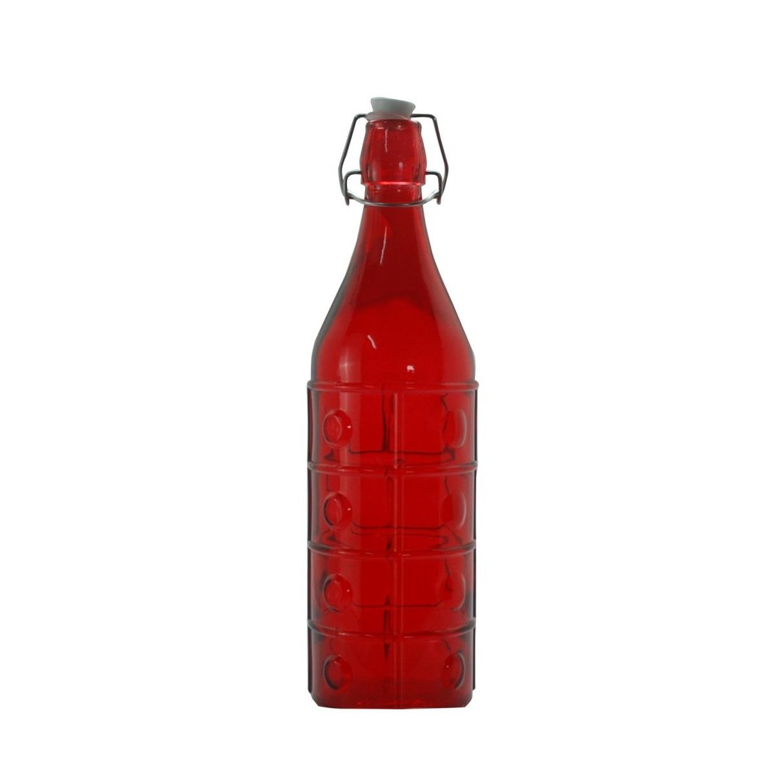 Garrafa de Vidro Vermelha 1L com Tampa 71008801 - Bianchini