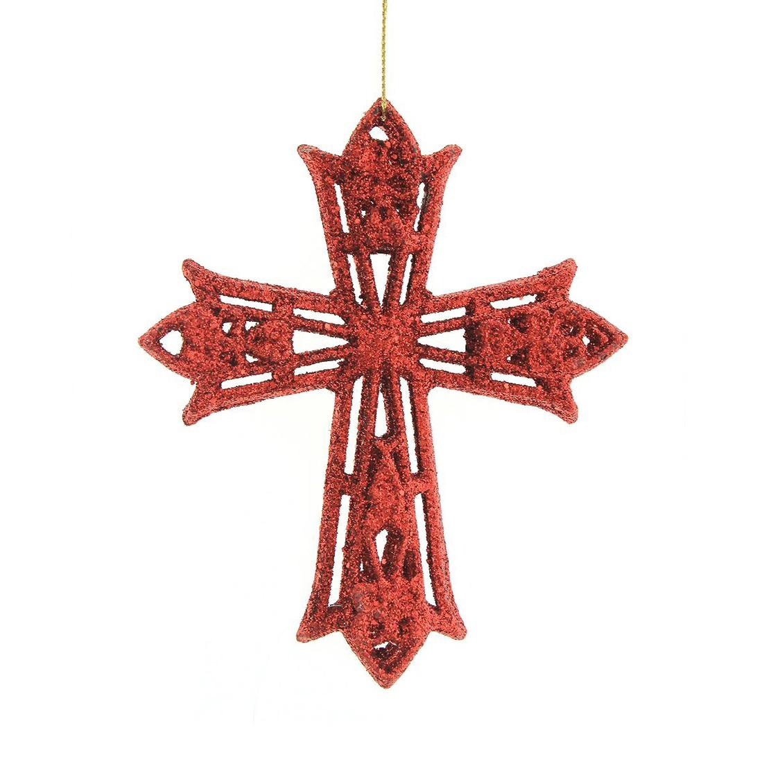 Enfeite de Arvore Natalina Cruz 12 cm Vermelho - 34868-009