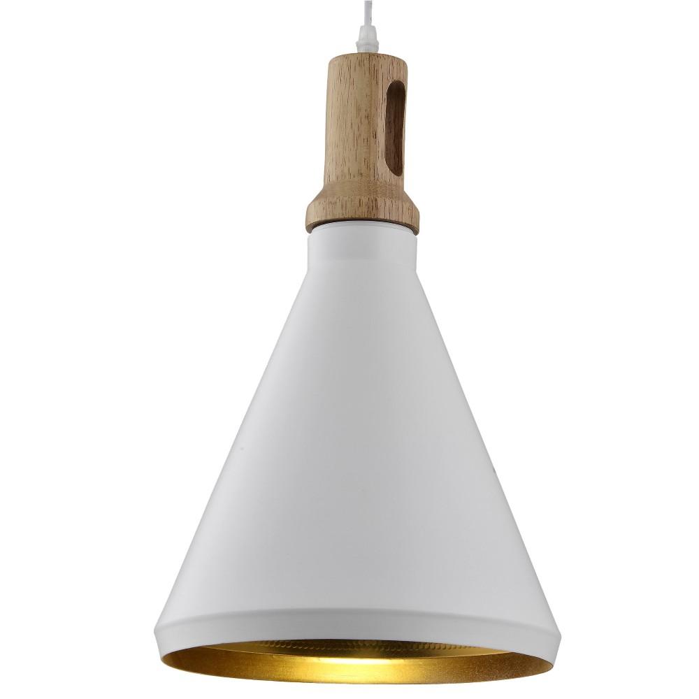 Pendente Aluminio e Madeira 1 Lampada E27 25cm - Ecoline