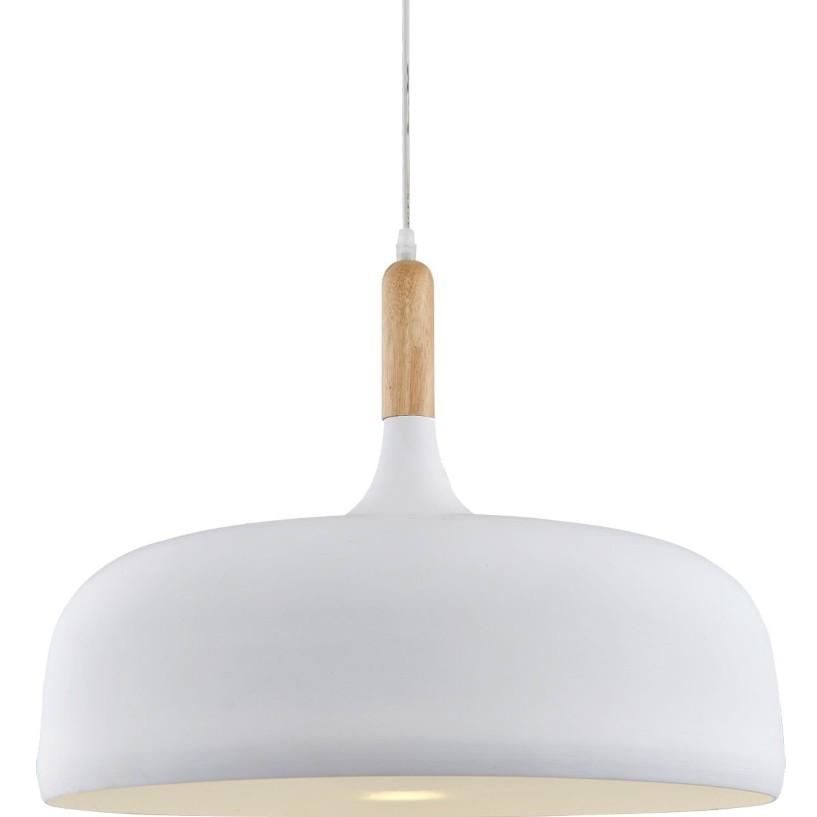 Pendente Aluminio e Madeira 1 Lampada 32cm Branco - Ecoline