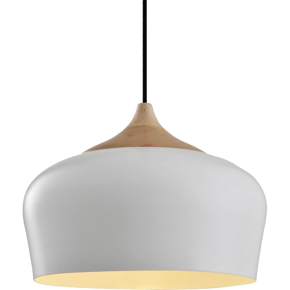 Pendente Aluminio e Madeira 1 Lampada 35cm Branco - Ecoline
