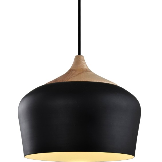 Pendente Aluminio e Madeira 1 Lampada 35cm - Ecoline