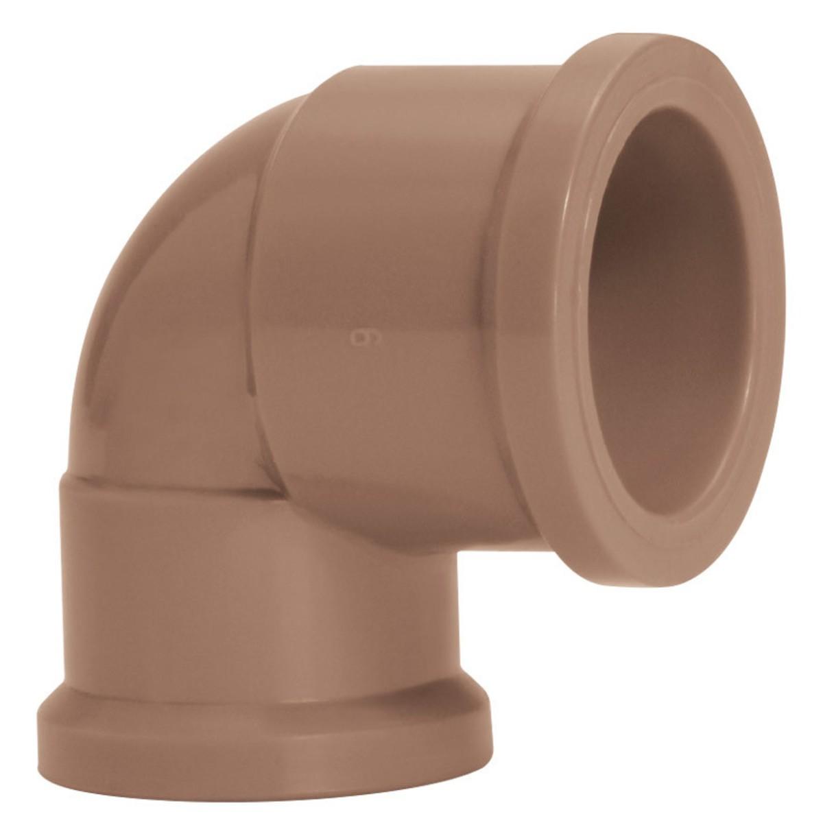 Joelho de Reducao 90 Soldavel PVC Marrom 32 mm x 25 mm - Amanco