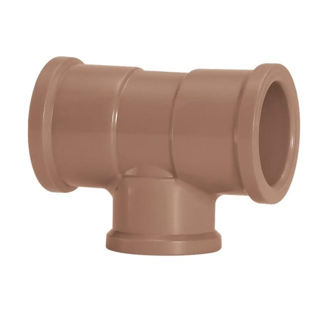 Te de Reducao 90 Soldavel PVC Marrom 20 mm x 50 mm - Amanco