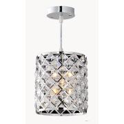Lustre Aço e Cristal Clear 1 Lâmpada - Ecoline