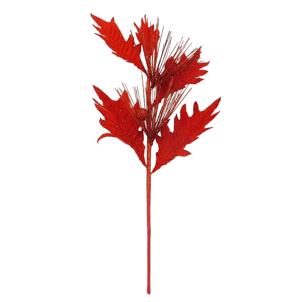 Galho de Natal Folhas 43cm Vermelho - Magizi