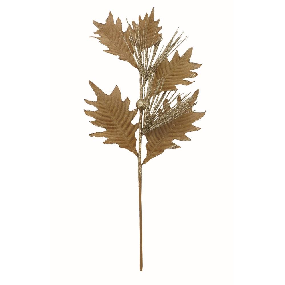 Galho Natalino Folhas 43 cm Dourado - 18005 - Yangzi