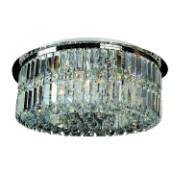 Lustre Aço e Cristal Linbon 6 Lâmpadas - Ecoline