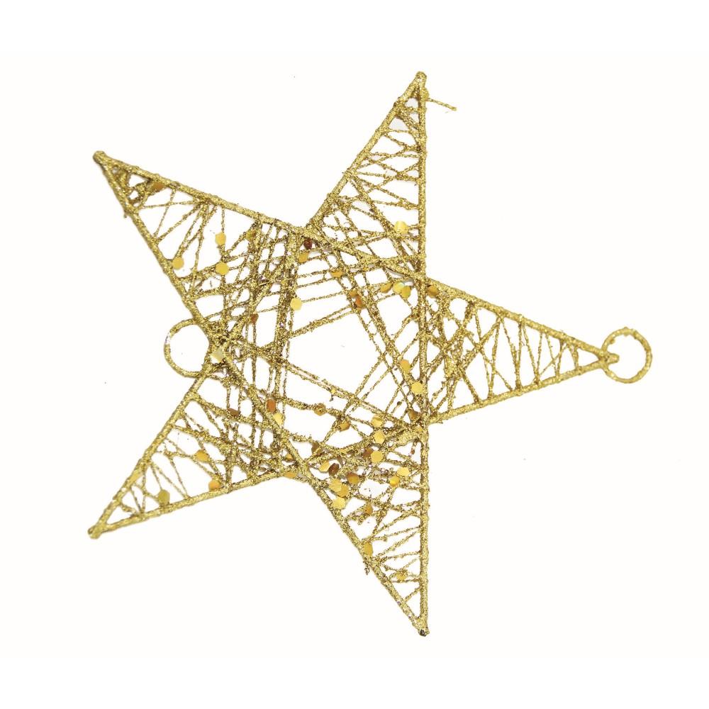 Enfeite de Arvore de Natal Estrela 16cm Dourada - Magizi