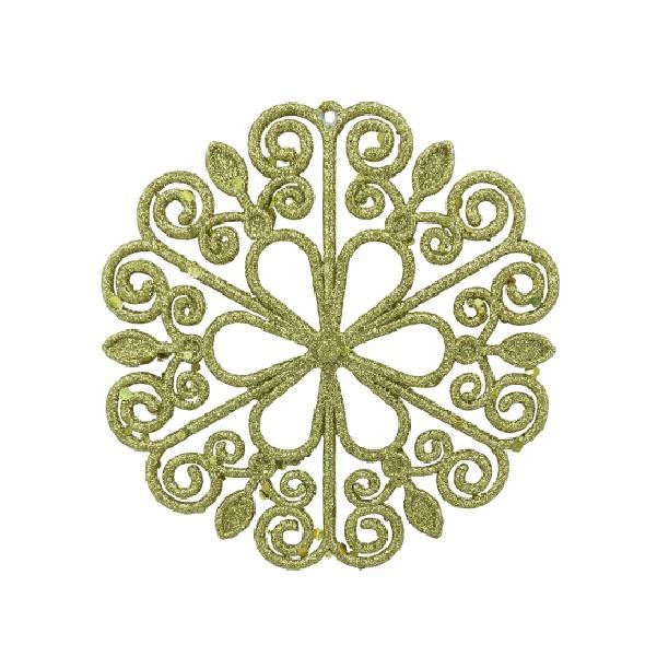 Enfeite de Arvore Natalina Floco de Neve 12 cm Dourado - 21764001