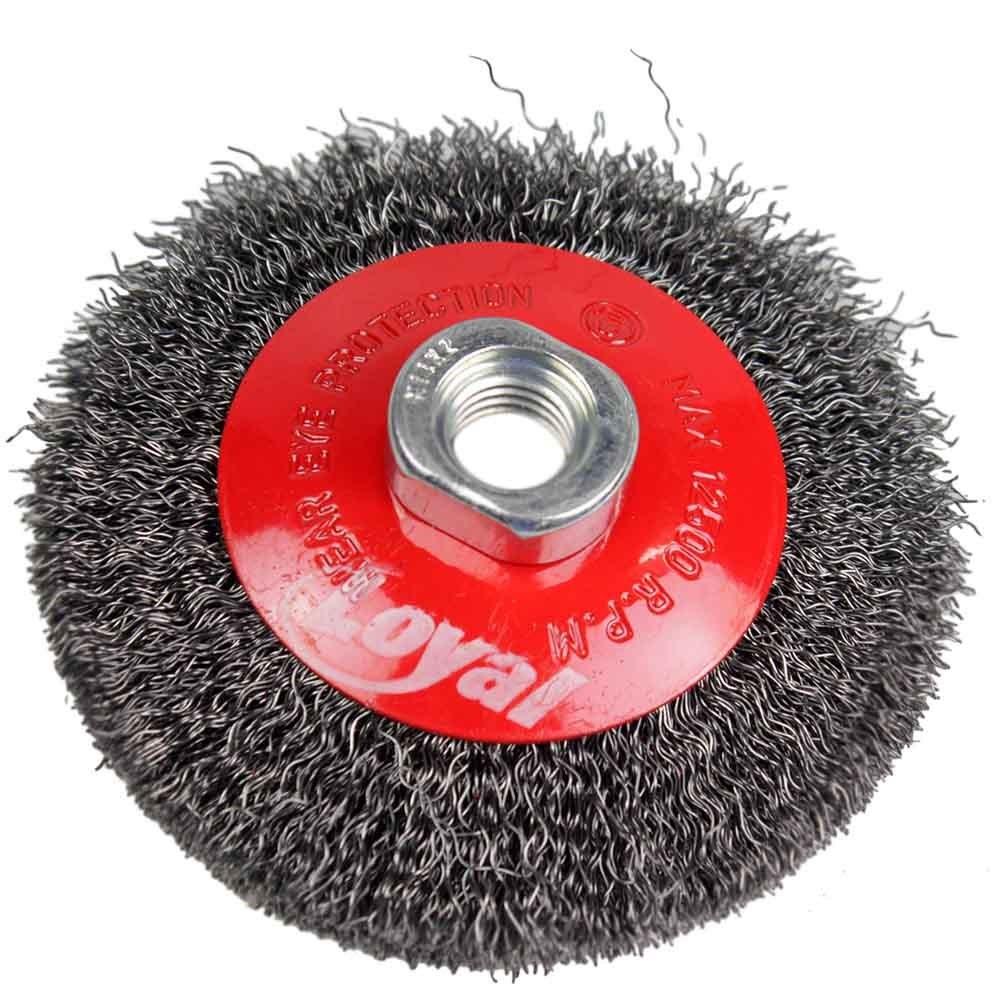 Escova Circular Aco Carbono 100 mm Ondulada Rosca M14 - Loyal