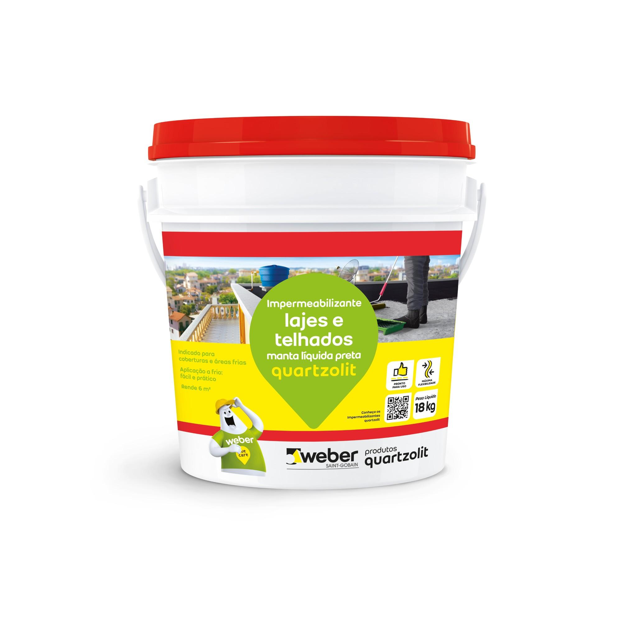 Manta Liquida Preta 18 Kg - Quartzolit