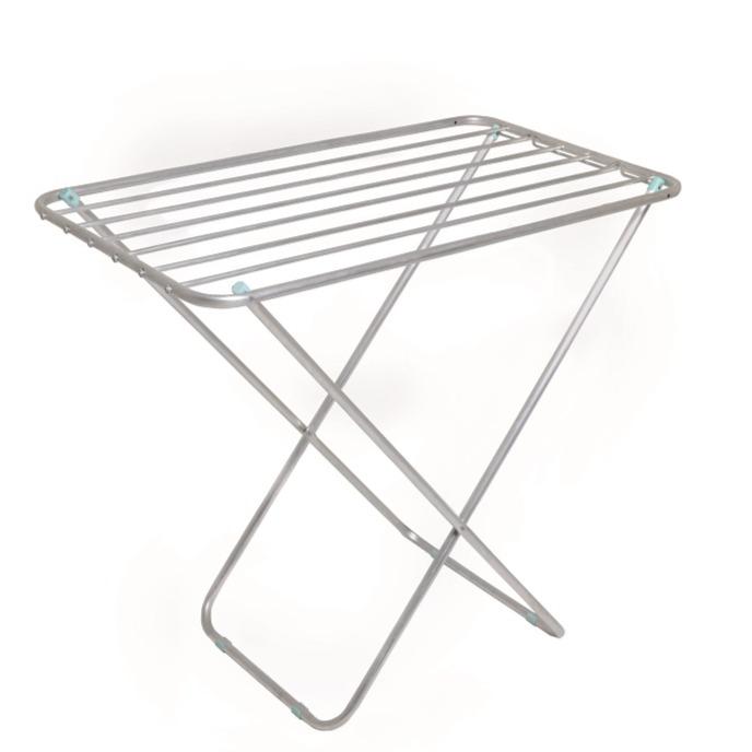 Varal de Chao Mor Retratil de Aluminio 8 Hastes 88x49cm Prata