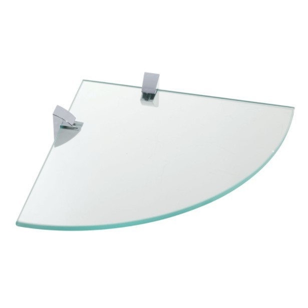 Prateleira Vidro 8 mm 25x25 cm Curva Cromada - Prat-K