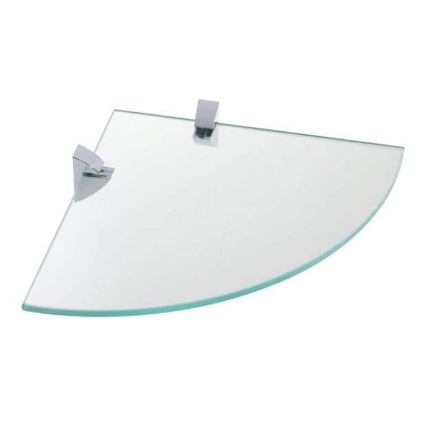 Prateleira Vidro 8 mm 30x30 cm Curva Cromada - Prat-K