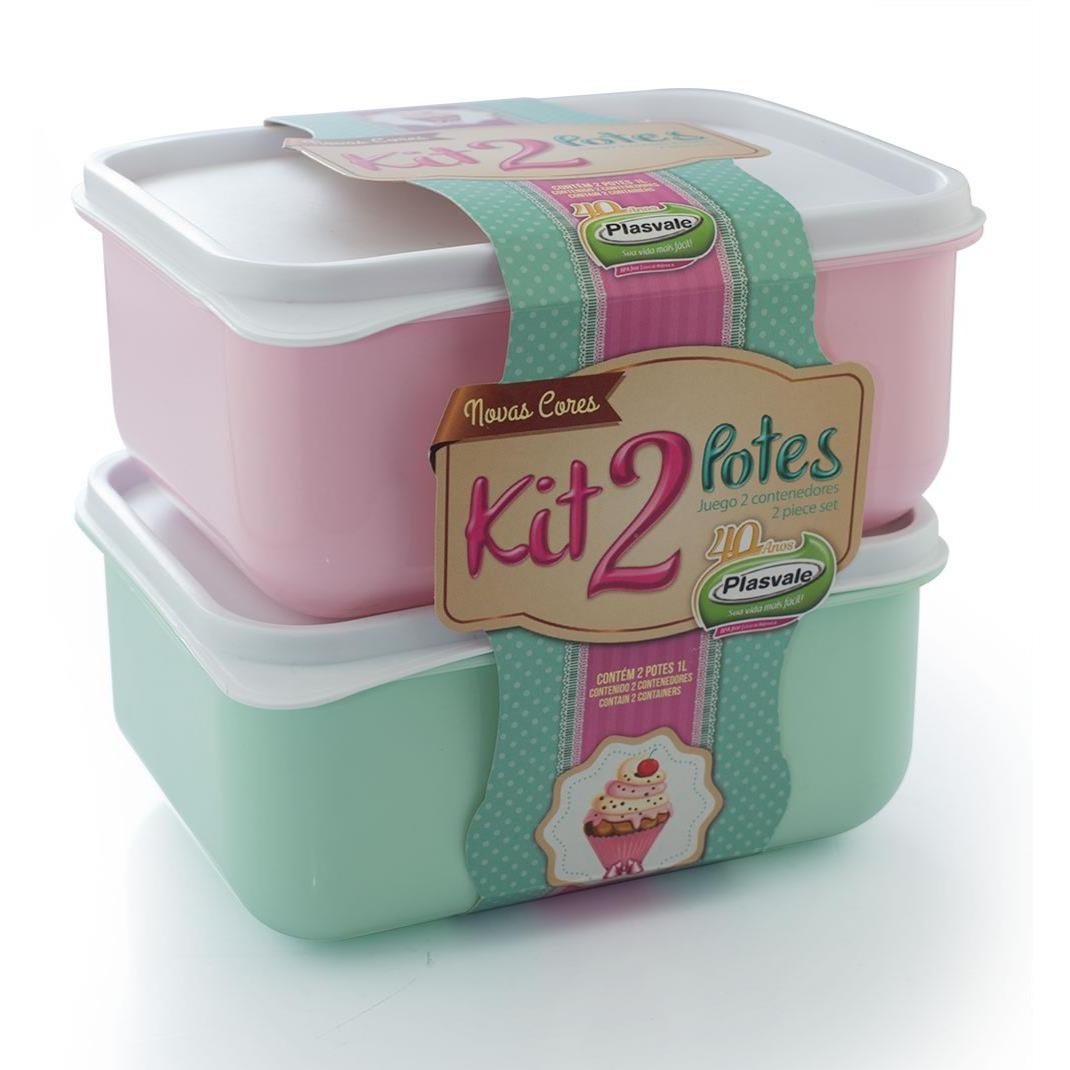 Jogo de Potes Plasticos Candy 2 Pecas 1L Rosa e Verde 1433 - Plasvale