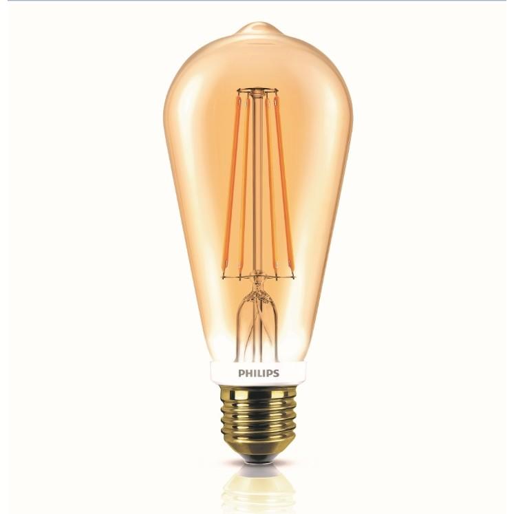Lampada Philips LED Pera ST64 7W Luz Amarela E27 220V