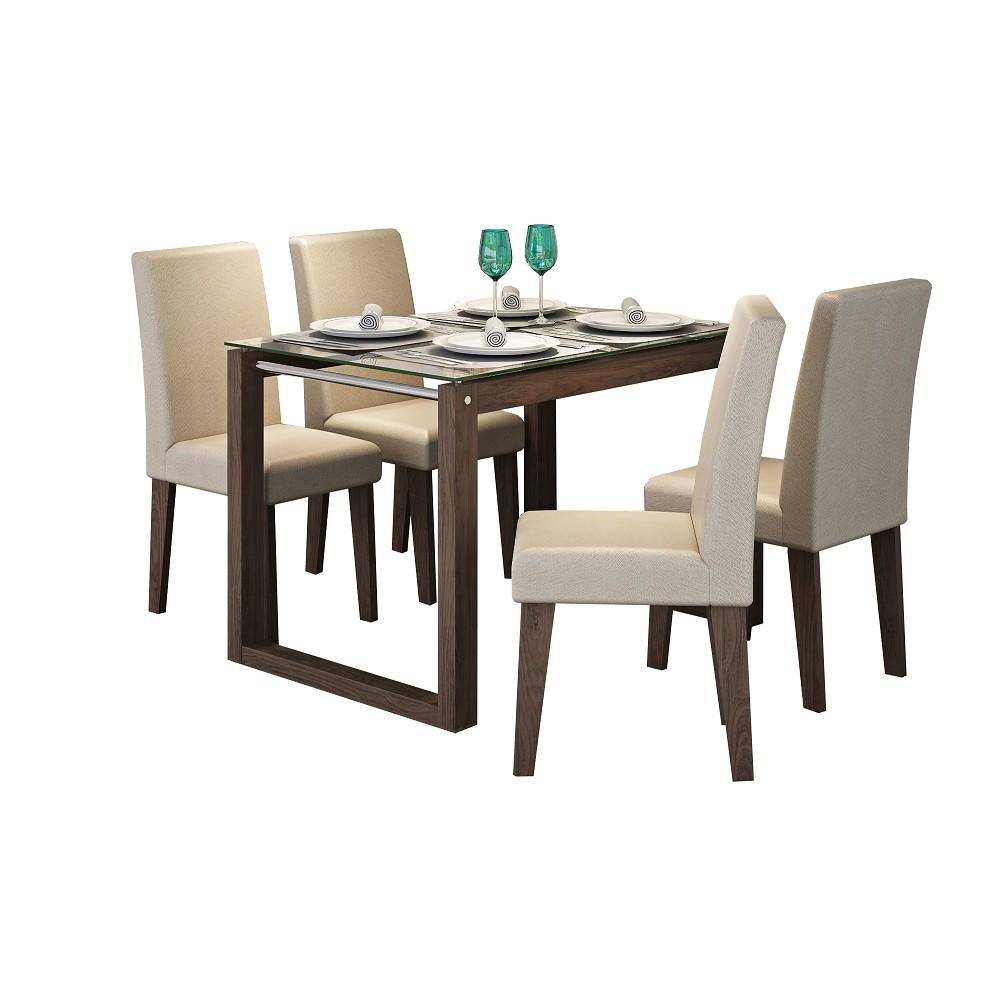 Conjunto de Mesa 120 x 80 cm Anita com 4 Cadeiras Marrocos Caramelo - Cimol